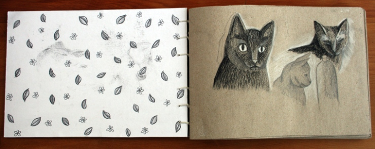 inside cover patterned with prismacolours- sketches of lily