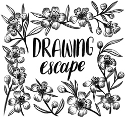drawingescape-withflowers-header-b+W